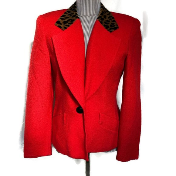 Christian Dior HOLIDAY red leopard collar jacket 6